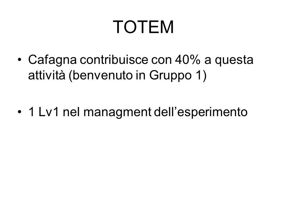 TOTEM Cafagna contribuisce con 40% a questa attività (benvenuto in Gruppo 1) 1 Lv1 nel managment dell'esperimento.
