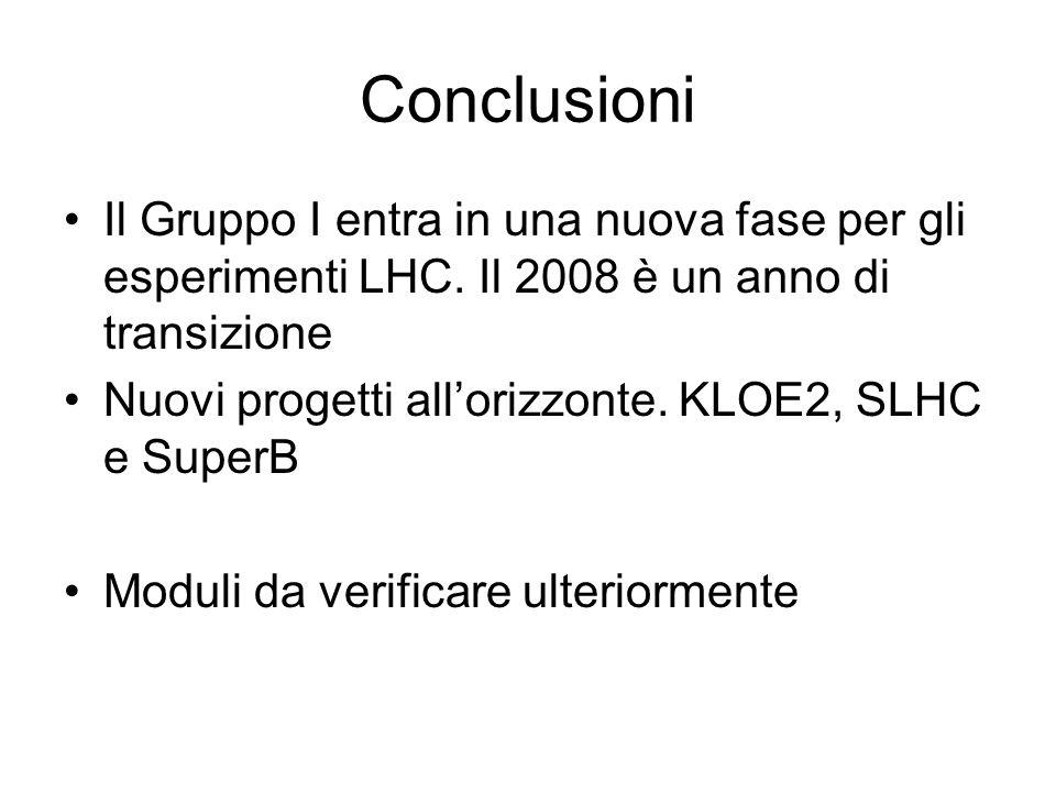 Conclusioni Il Gruppo I entra in una nuova fase per gli esperimenti LHC. Il 2008 è un anno di transizione.