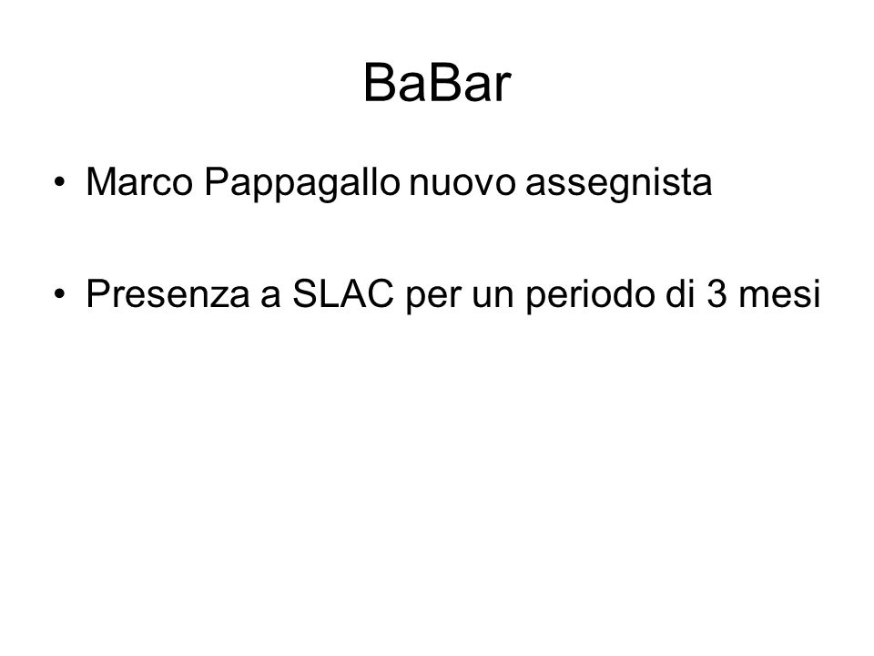 BaBar Marco Pappagallo nuovo assegnista