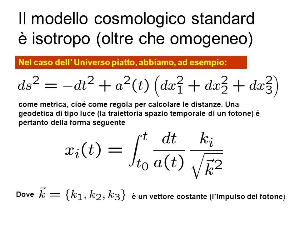 Il modello cosmologico standard è isotropo (oltre che omogeneo)