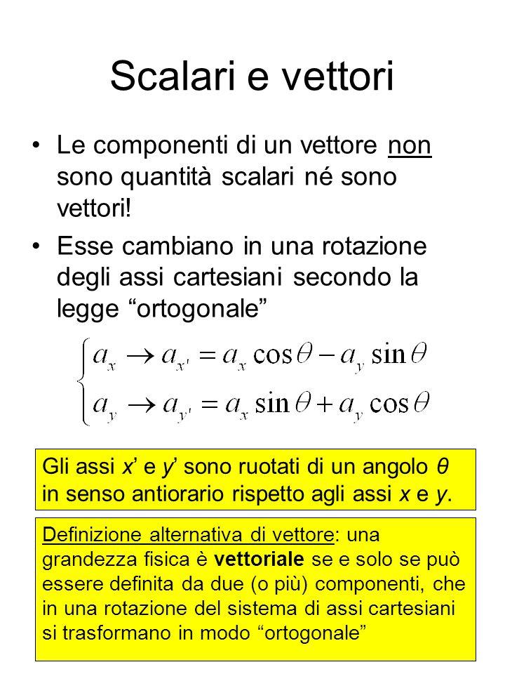 Scalari e vettori Le componenti di un vettore non sono quantità scalari né sono vettori!