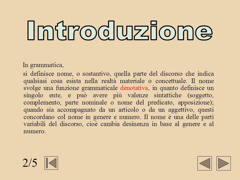 Introduzione 2/5 In grammatica,