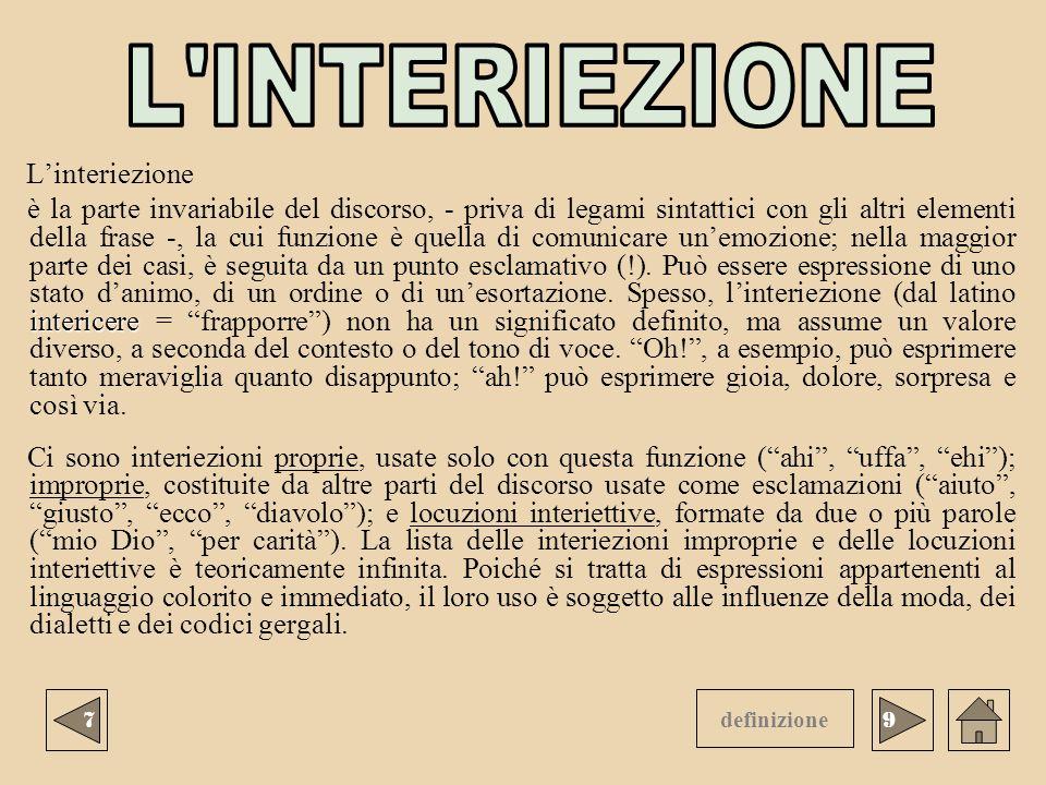L INTERIEZIONE L'interiezione