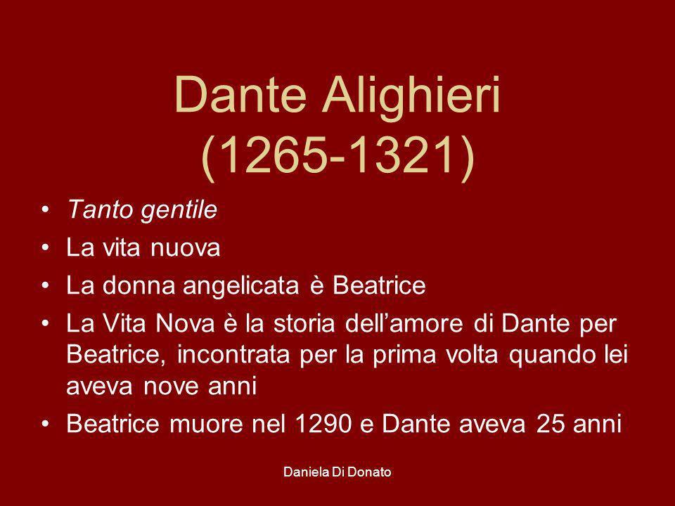 Dante Alighieri (1265-1321) Tanto gentile La vita nuova