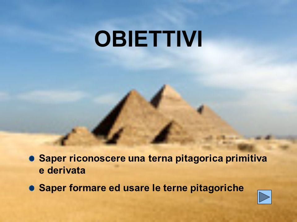 OBIETTIVI Saper riconoscere una terna pitagorica primitiva e derivata
