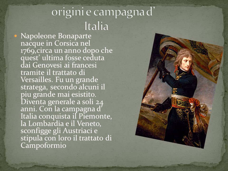 origini e campagna d' Italia