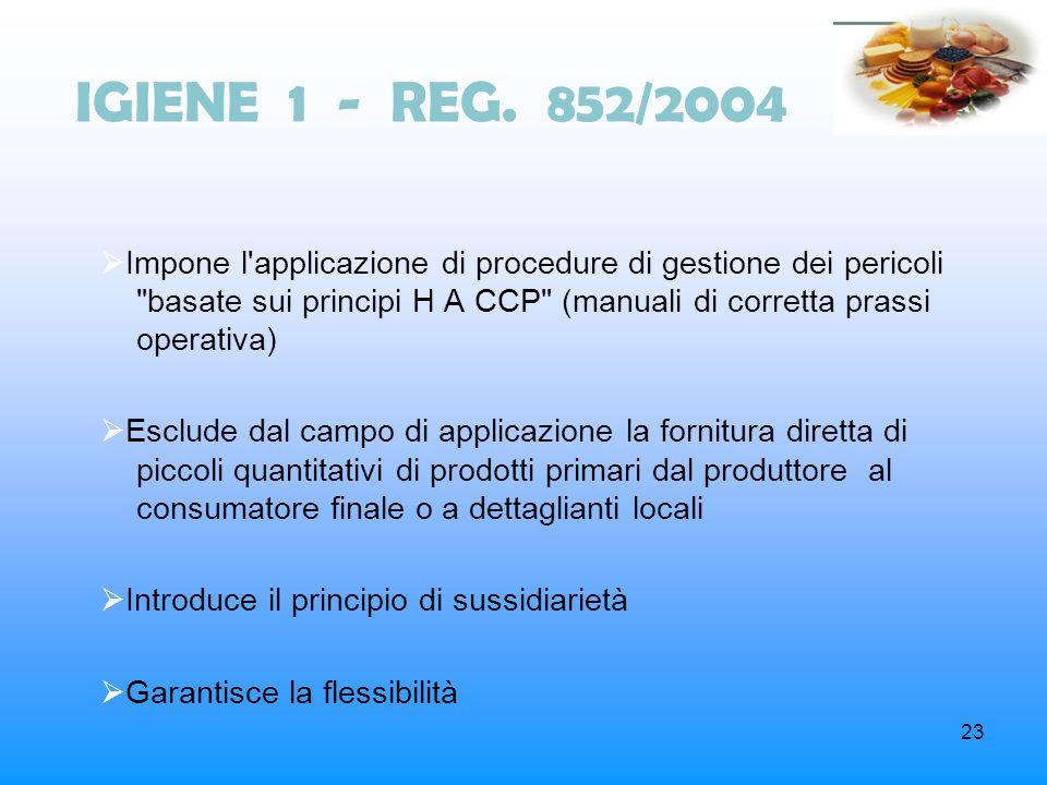 IGIENE 1 - REG. 852/2004