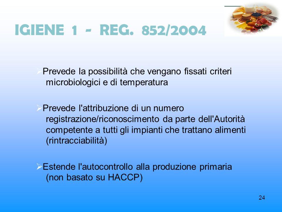 IGIENE 1 - REG. 852/2004Prevede la possibilità che vengano fissati criteri microbiologici e di temperatura.