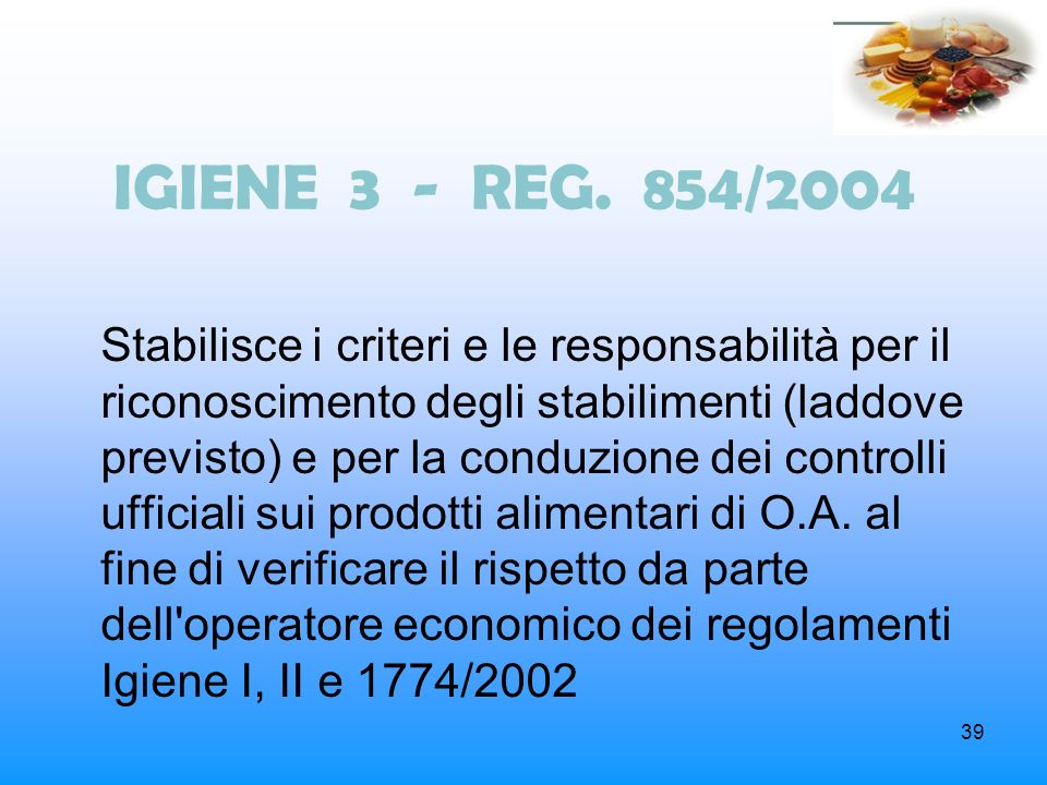 IGIENE 3 - REG. 854/2004