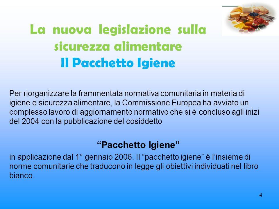 La nuova legislazione sulla sicurezza alimentare Il Pacchetto Igiene