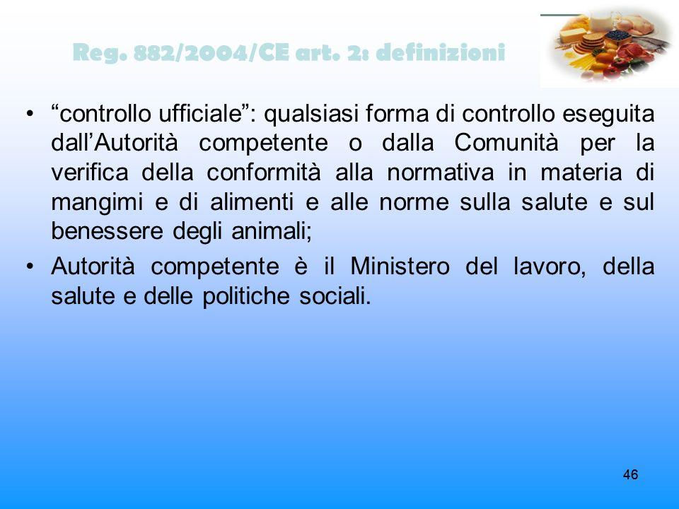 Reg. 882/2004/CE art. 2: definizioni