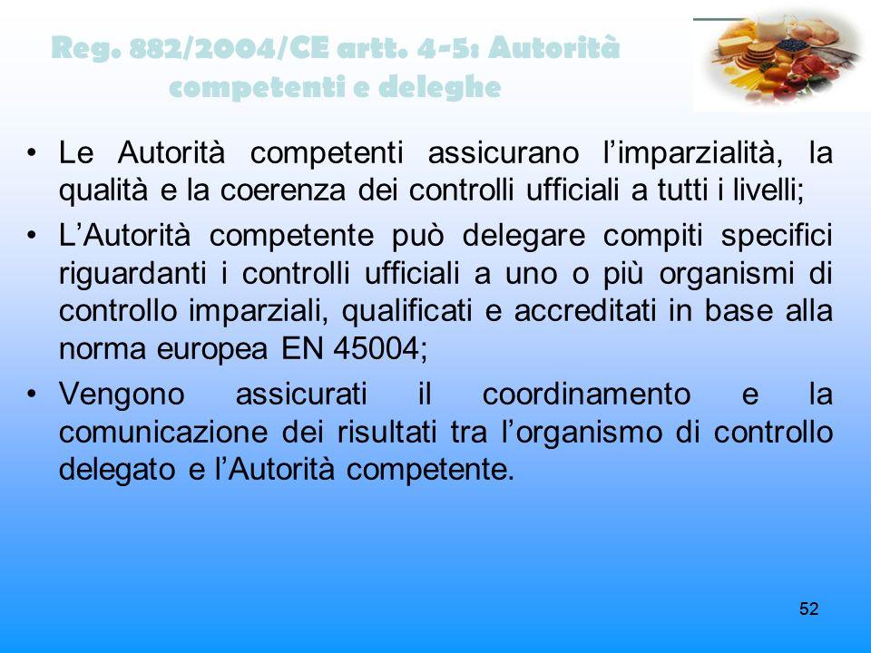 Reg. 882/2004/CE artt. 4-5: Autorità competenti e deleghe
