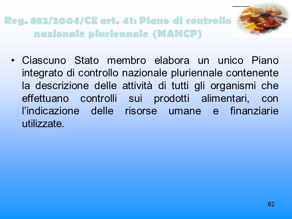 Reg. 882/2004/CE art. 41: Piano di controllo nazionale pluriennale (MANCP)