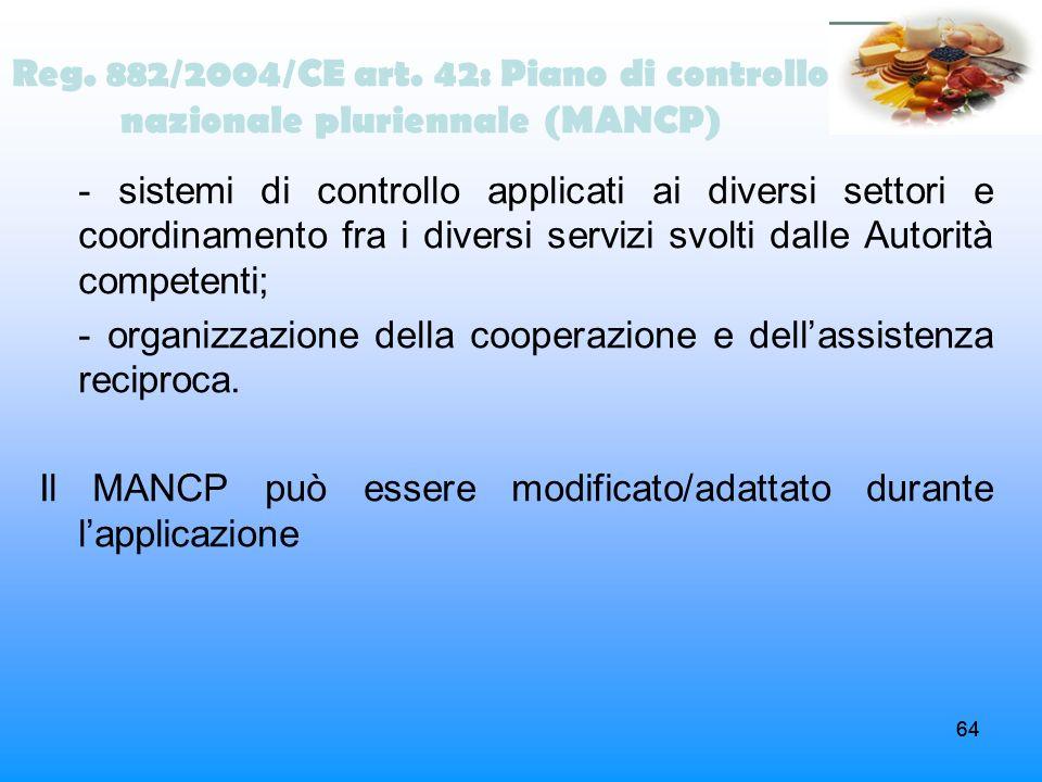 Reg. 882/2004/CE art. 42: Piano di controllo nazionale pluriennale (MANCP)