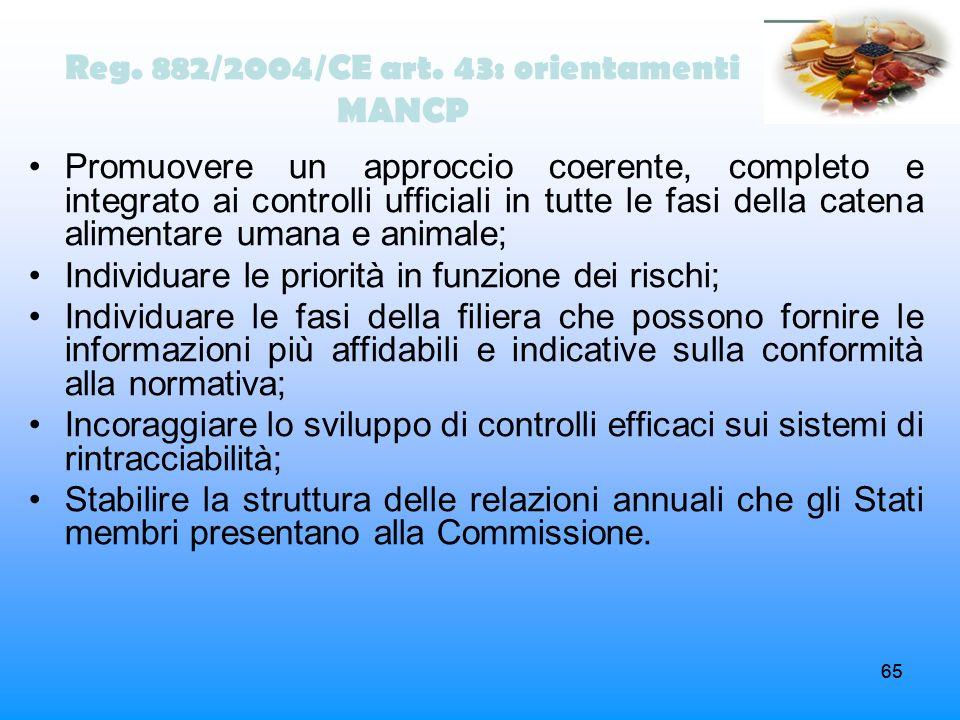 Reg. 882/2004/CE art. 43: orientamenti MANCP
