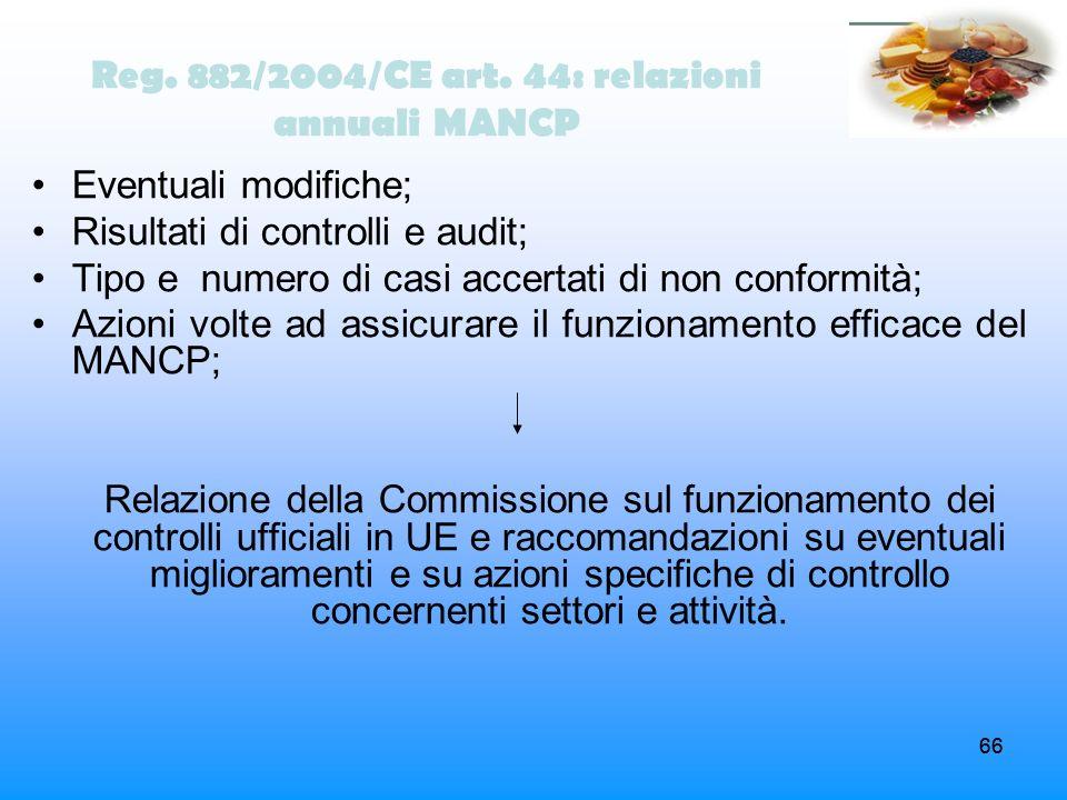 Reg. 882/2004/CE art. 44: relazioni annuali MANCP