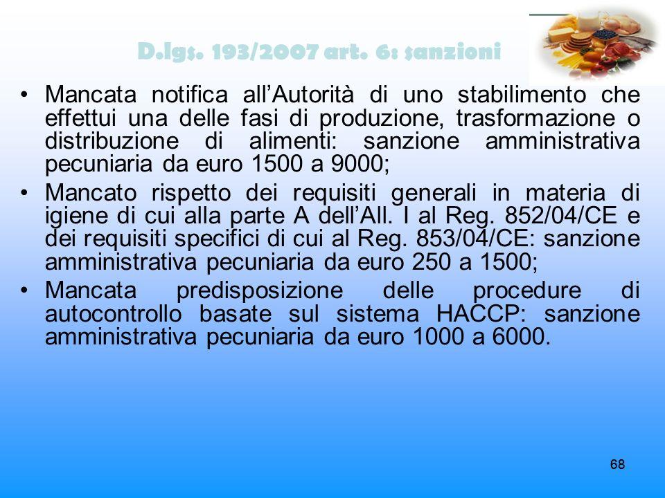 D.lgs. 193/2007 art. 6: sanzioni
