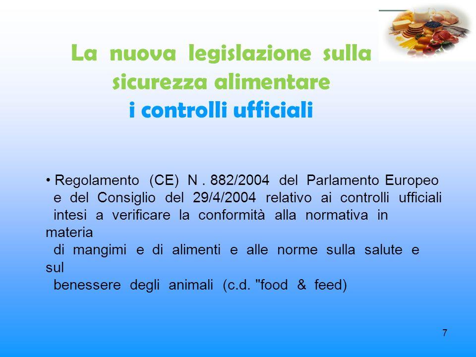 La nuova legislazione sulla sicurezza alimentare i controlli ufficiali