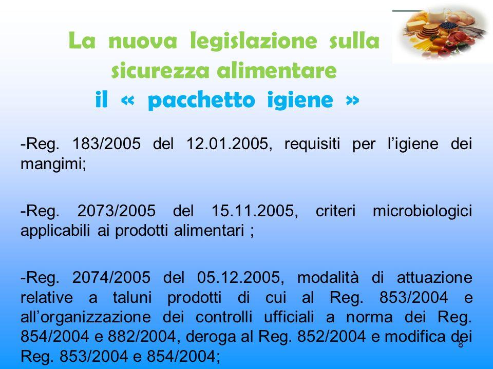 La nuova legislazione sulla sicurezza alimentare il « pacchetto igiene »