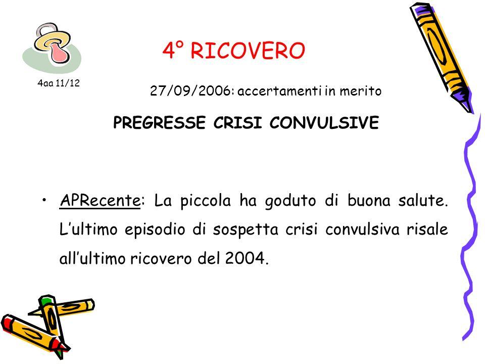 4° RICOVERO 27/09/2006: accertamenti in merito