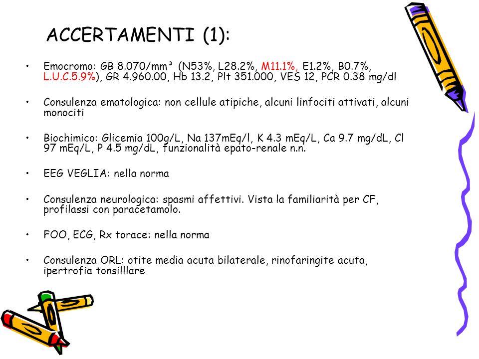 ACCERTAMENTI (1): Emocromo: GB 8.070/mm³ (N53%, L28.2%, M11.1%, E1.2%, B0.7%, L.U.C.5.9%), GR 4.960.00, Hb 13.2, Plt 351.000, VES 12, PCR 0.38 mg/dl.