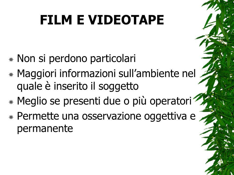 FILM E VIDEOTAPE Non si perdono particolari