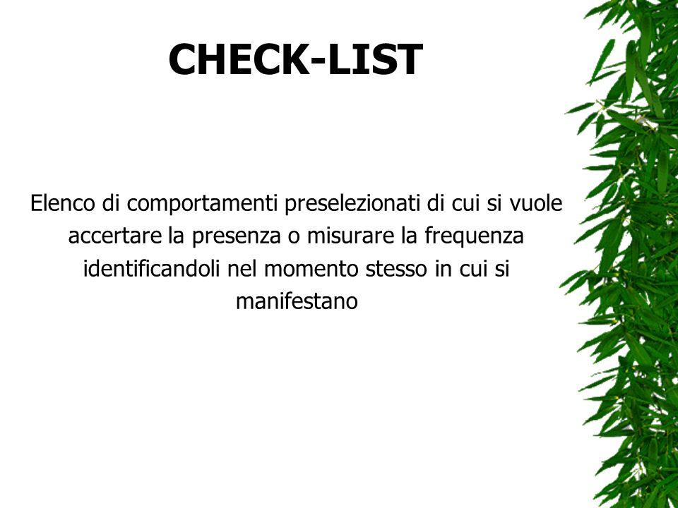 CHECK-LIST Elenco di comportamenti preselezionati di cui si vuole