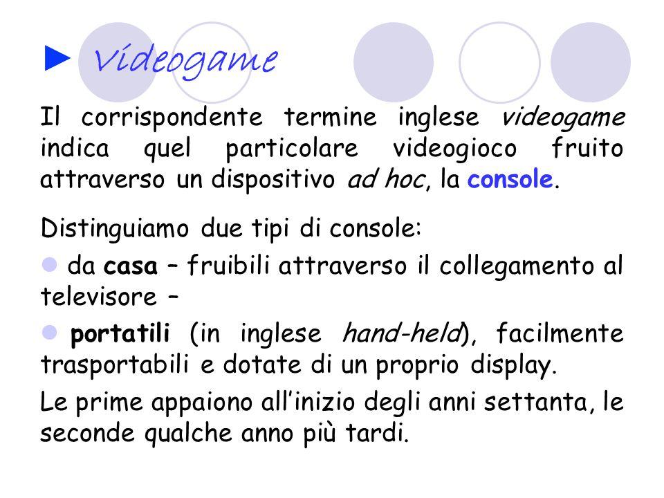 Videogame Il corrispondente termine inglese videogame indica quel particolare videogioco fruito attraverso un dispositivo ad hoc, la console.