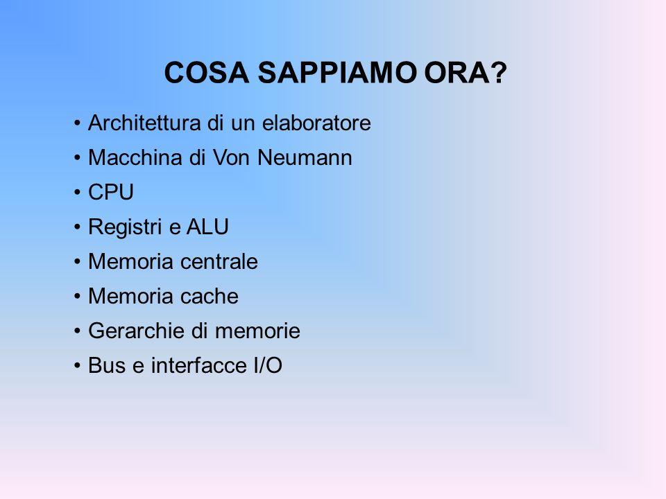 COSA SAPPIAMO ORA Architettura di un elaboratore