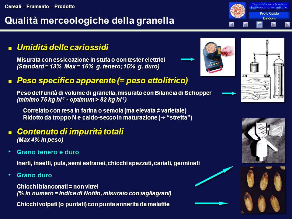 Qualità merceologiche della granella