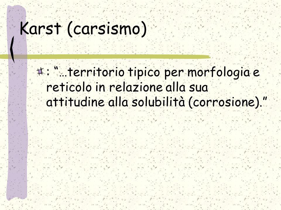 Karst (carsismo) : …territorio tipico per morfologia e reticolo in relazione alla sua attitudine alla solubilità (corrosione).
