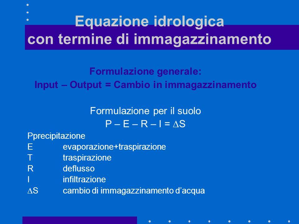 Equazione idrologica con termine di immagazzinamento