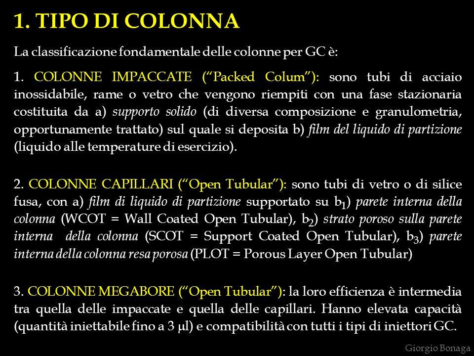 1. TIPO DI COLONNA La classificazione fondamentale delle colonne per GC è:
