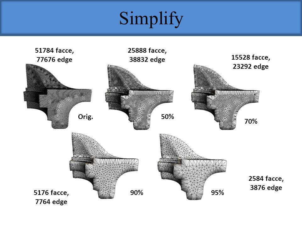 Simplify 51784 facce, 77676 edge 25888 facce, 38832 edge