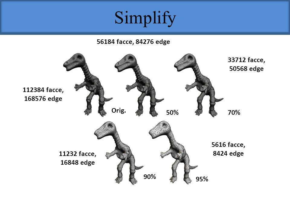 Simplify 56184 facce, 84276 edge 33712 facce, 50568 edge