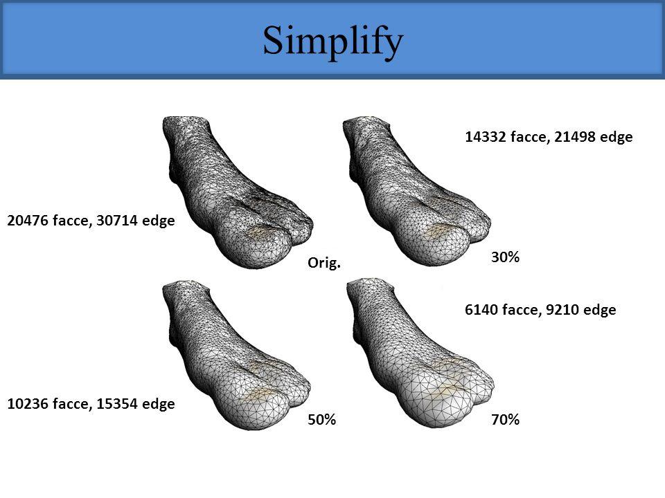 Simplify 14332 facce, 21498 edge 20476 facce, 30714 edge 30% Orig.