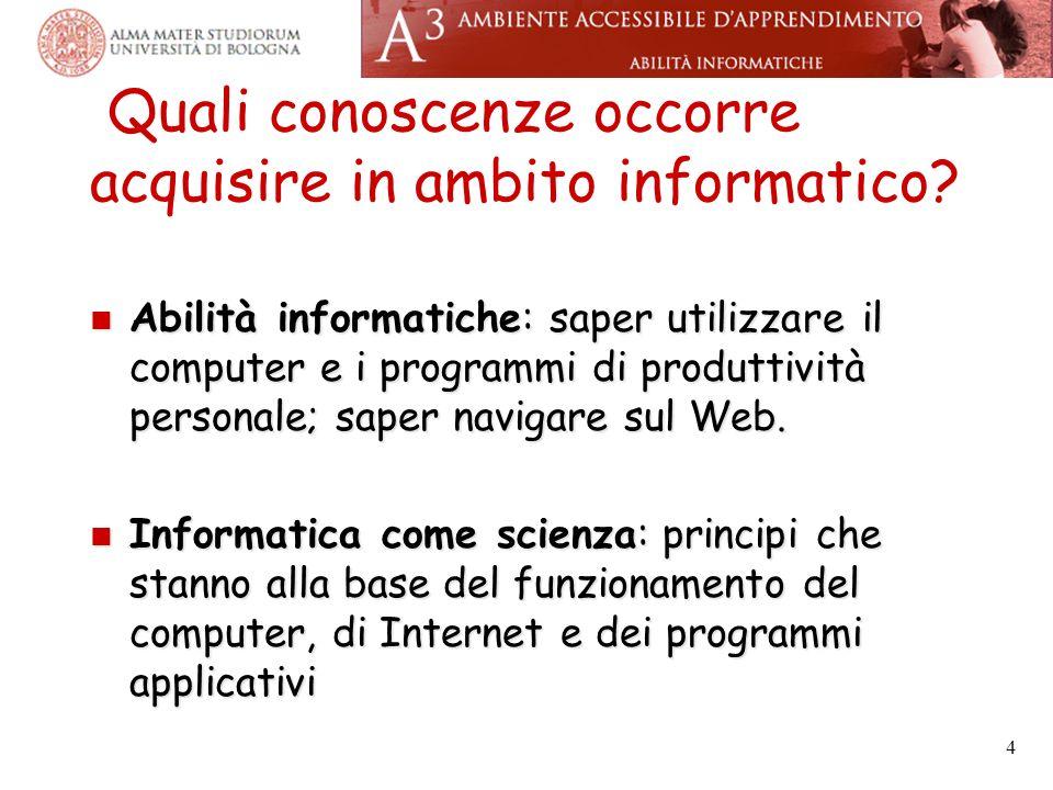 Quali conoscenze occorre acquisire in ambito informatico