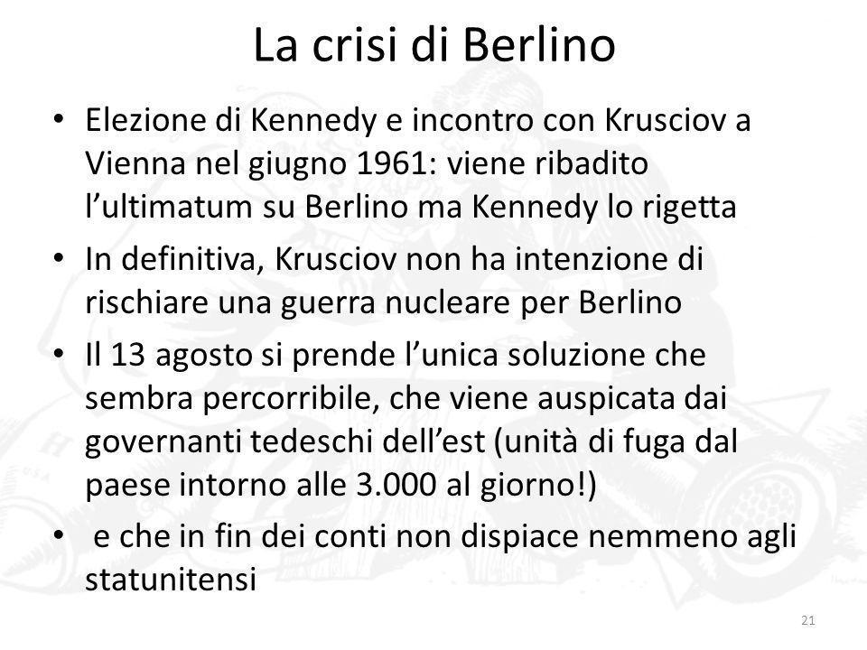 La crisi di BerlinoElezione di Kennedy e incontro con Krusciov a Vienna nel giugno 1961: viene ribadito l'ultimatum su Berlino ma Kennedy lo rigetta.