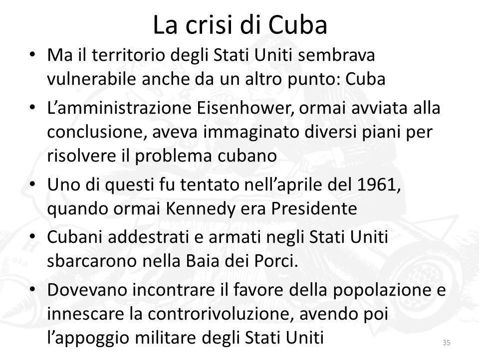La crisi di CubaMa il territorio degli Stati Uniti sembrava vulnerabile anche da un altro punto: Cuba.