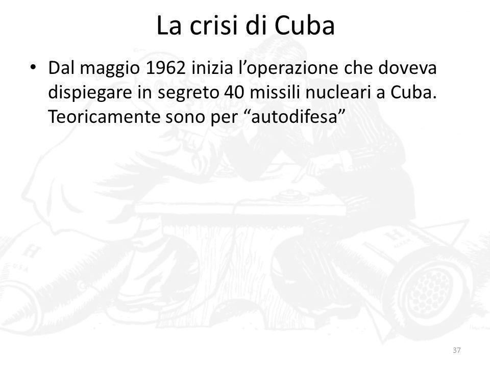 La crisi di CubaDal maggio 1962 inizia l'operazione che doveva dispiegare in segreto 40 missili nucleari a Cuba.