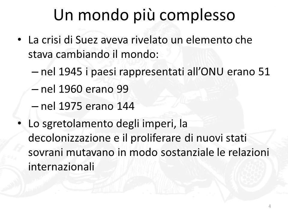 Un mondo più complessoLa crisi di Suez aveva rivelato un elemento che stava cambiando il mondo: nel 1945 i paesi rappresentati all'ONU erano 51.