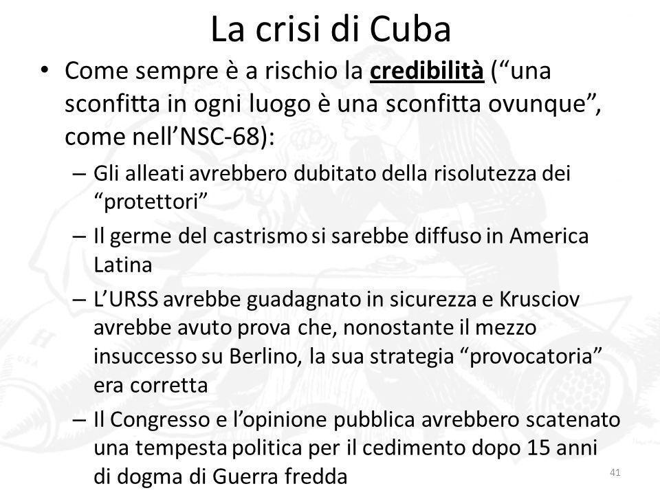 La crisi di Cuba Come sempre è a rischio la credibilità ( una sconfitta in ogni luogo è una sconfitta ovunque , come nell'NSC-68):