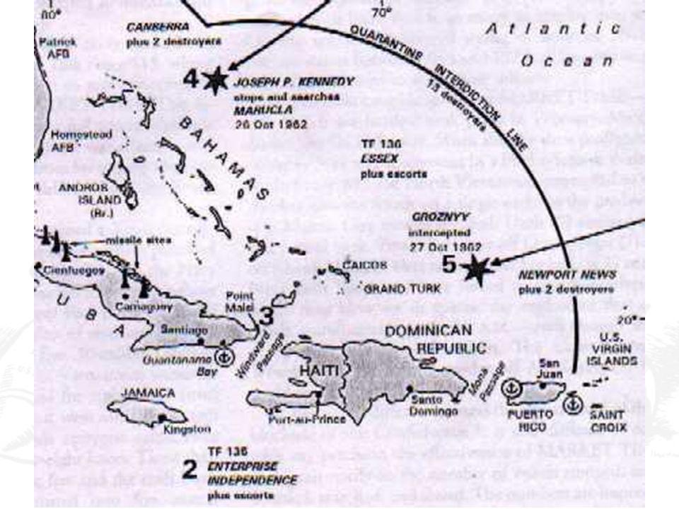 La crisi di Cuba Kennedy scarta le ipotesi più rischiose: né attacco né invasione: quarantena (blocco) navale attorno a Cuba.