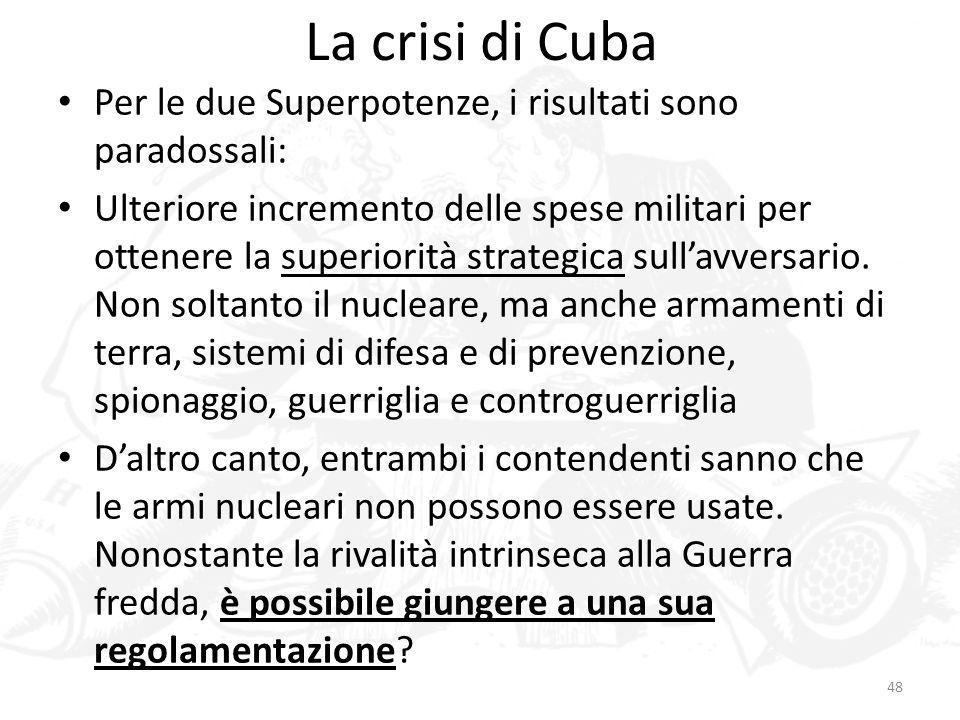 La crisi di CubaPer le due Superpotenze, i risultati sono paradossali: