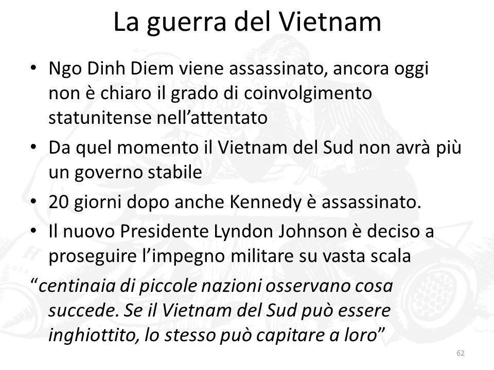 La guerra del VietnamNgo Dinh Diem viene assassinato, ancora oggi non è chiaro il grado di coinvolgimento statunitense nell'attentato.