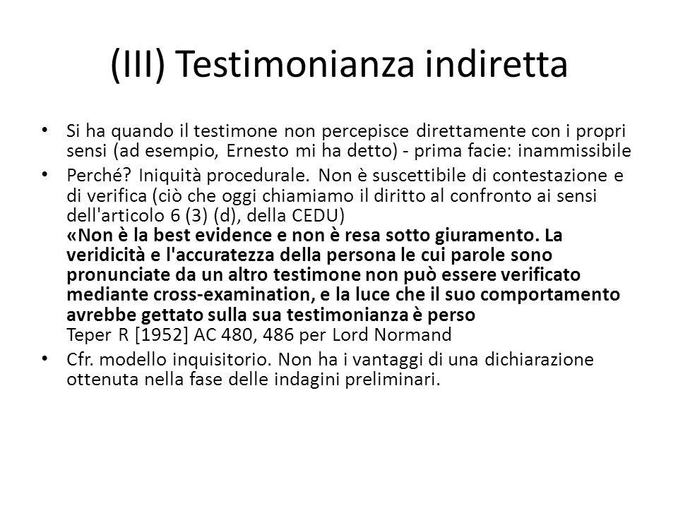 (III) Testimonianza indiretta
