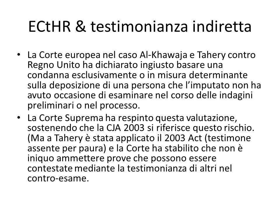 ECtHR & testimonianza indiretta