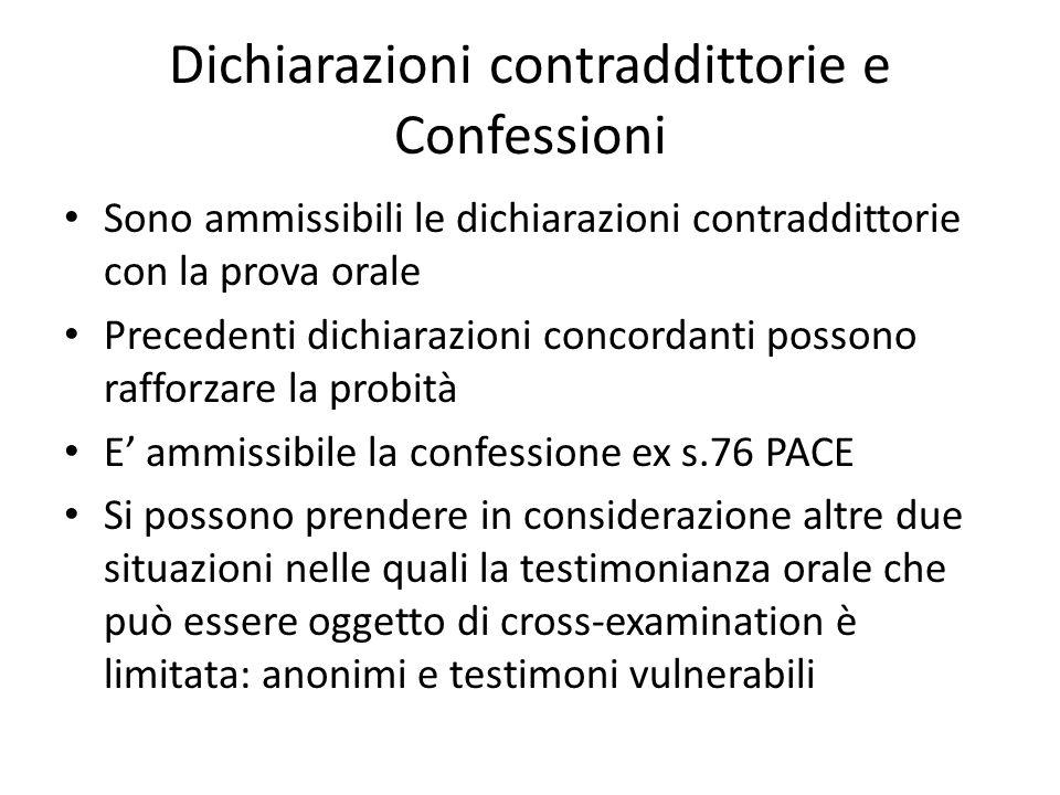 Dichiarazioni contraddittorie e Confessioni