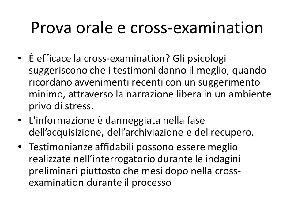 Prova orale e cross-examination