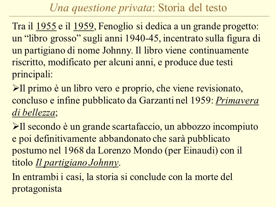 Una questione privata: Storia del testo